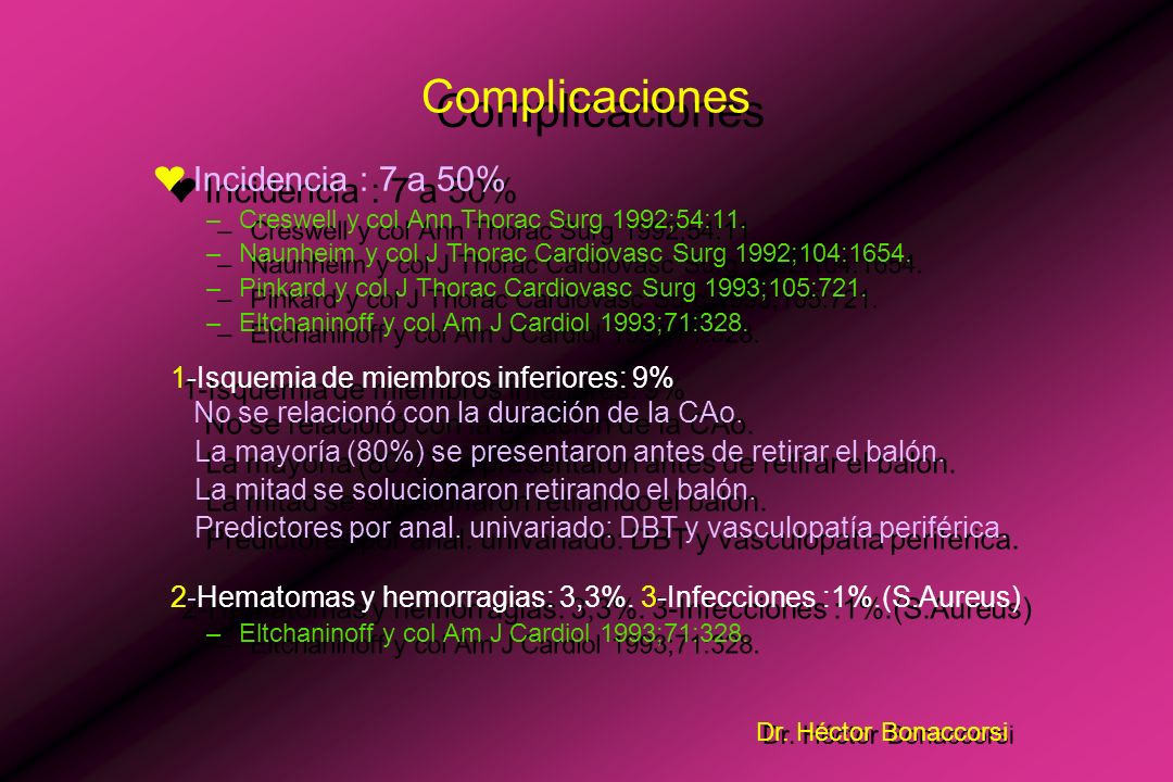 Complicaciones Incidencia : 7 a 50%