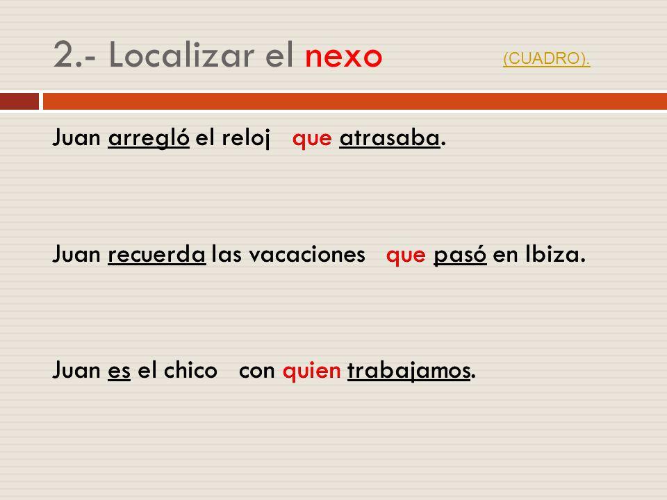 2.- Localizar el nexo (CUADRO).