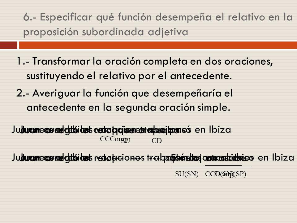 6.- Especificar qué función desempeña el relativo en la proposición subordinada adjetiva