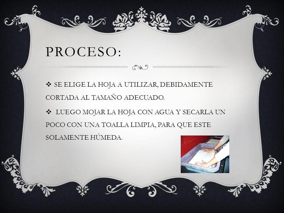 Proceso: SE ELIGE LA HOJA A UTILIZAR, DEBIDAMENTE CORTADA AL TAMAÑO ADECUADO.