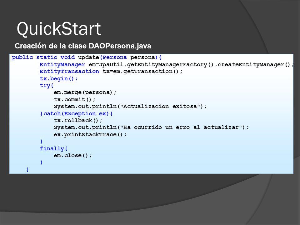 QuickStart Creación de la clase DAOPersona.java