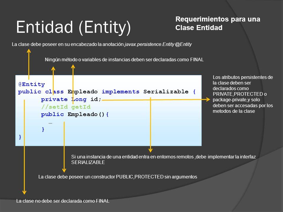 Entidad (Entity) Requerimientos para una Clase Entidad @Entity