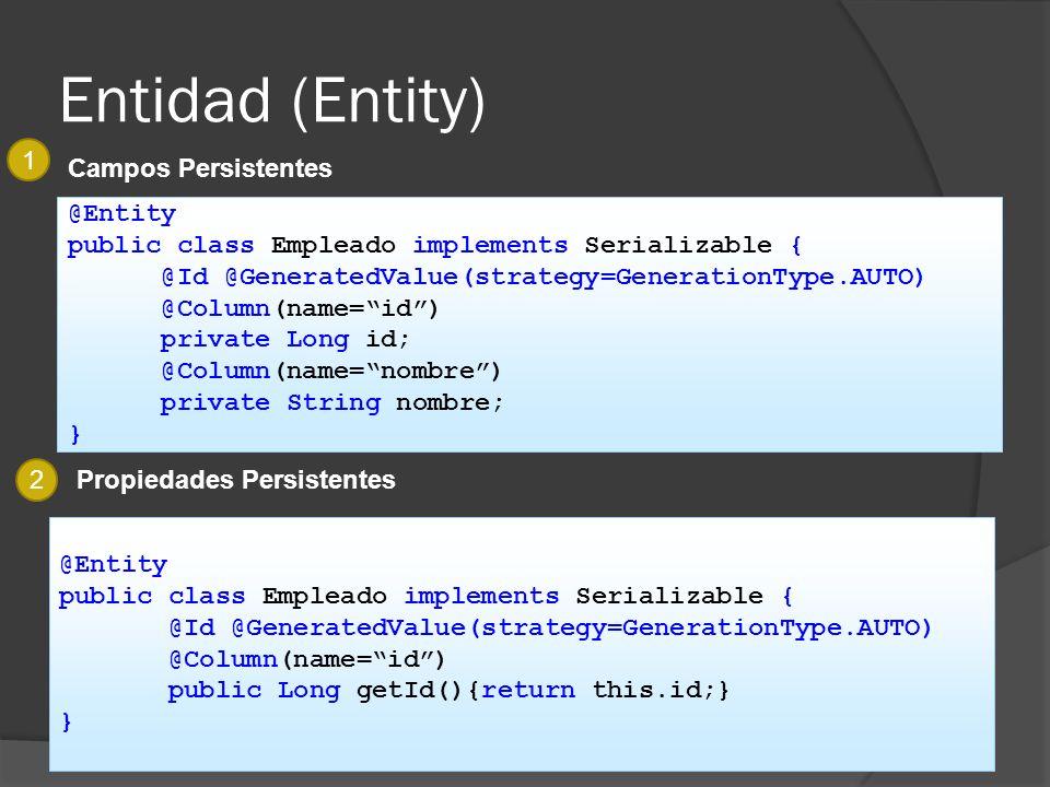 Entidad (Entity) 1 Campos Persistentes @Entity