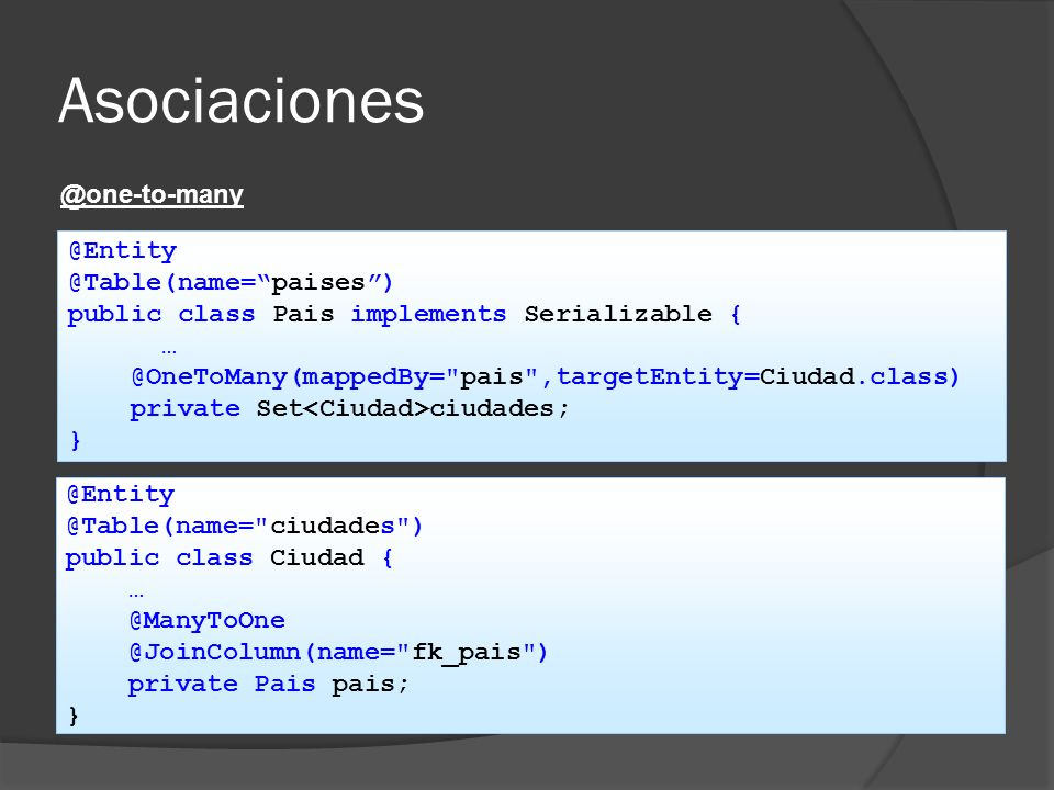Asociaciones @one-to-many @Entity @Table(name= paises )