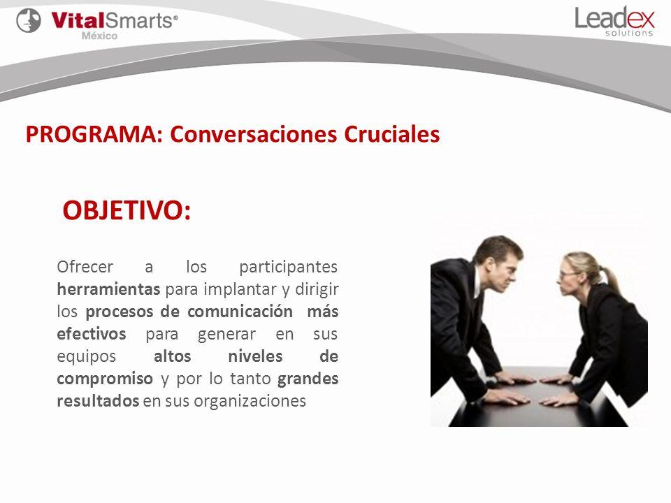 OBJETIVO: PROGRAMA: Conversaciones Cruciales