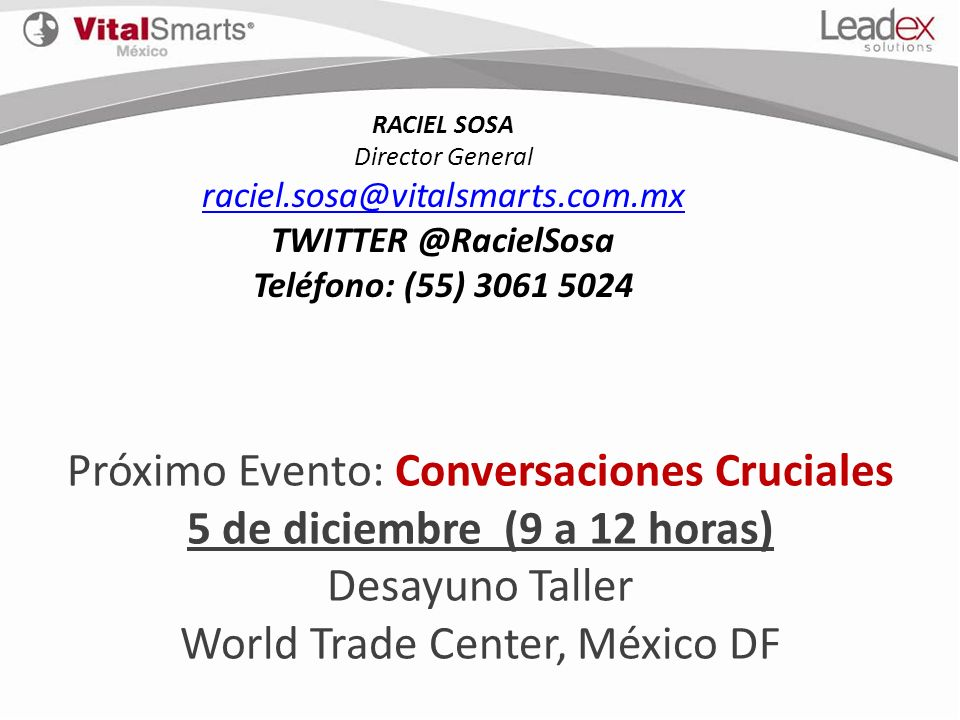 Próximo Evento: Conversaciones Cruciales 5 de diciembre (9 a 12 horas)