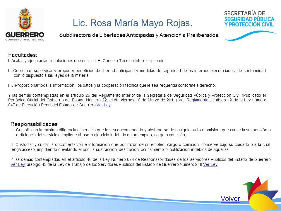 Lic. Rosa María Mayo Rojas.