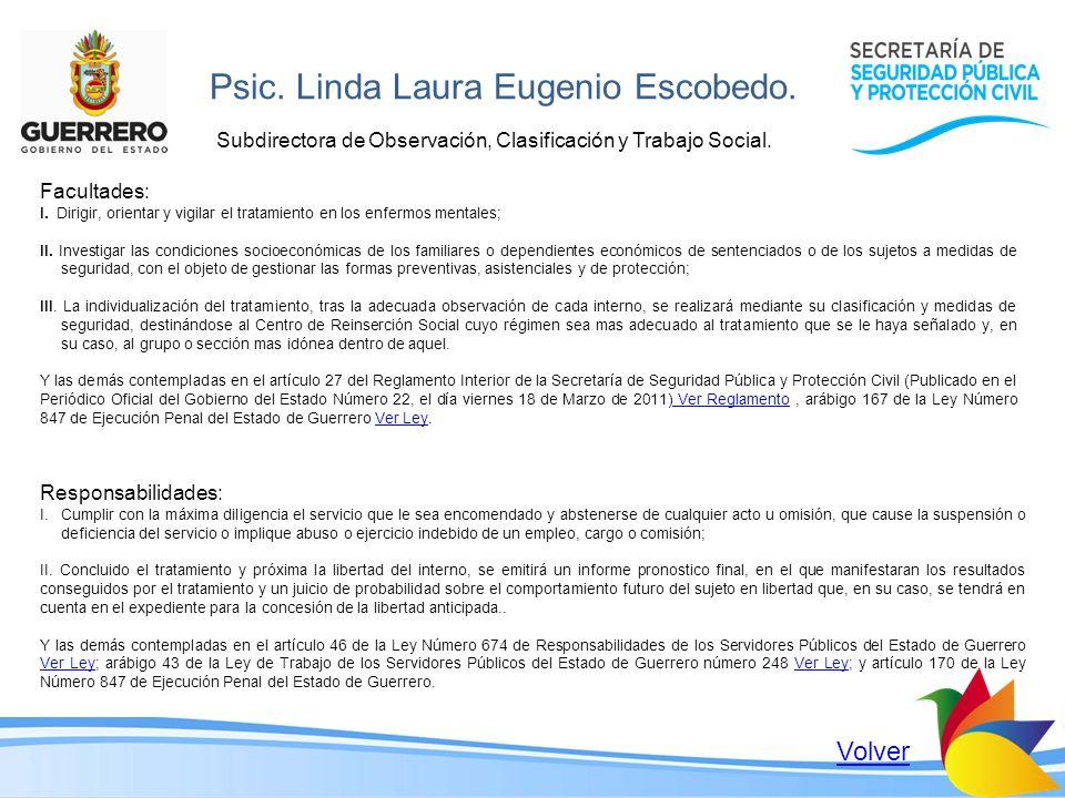 Psic. Linda Laura Eugenio Escobedo.