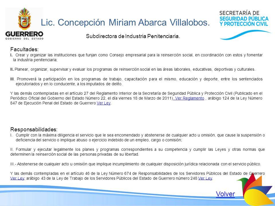 Lic. Concepción Miriam Abarca Villalobos.