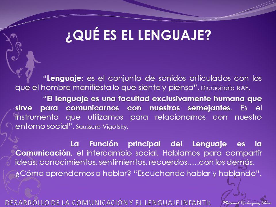 ¿QUÉ ES EL LENGUAJE Lenguaje: es el conjunto de sonidos articulados con los que el hombre manifiesta lo que siente y piensa . Diccionario RAE.
