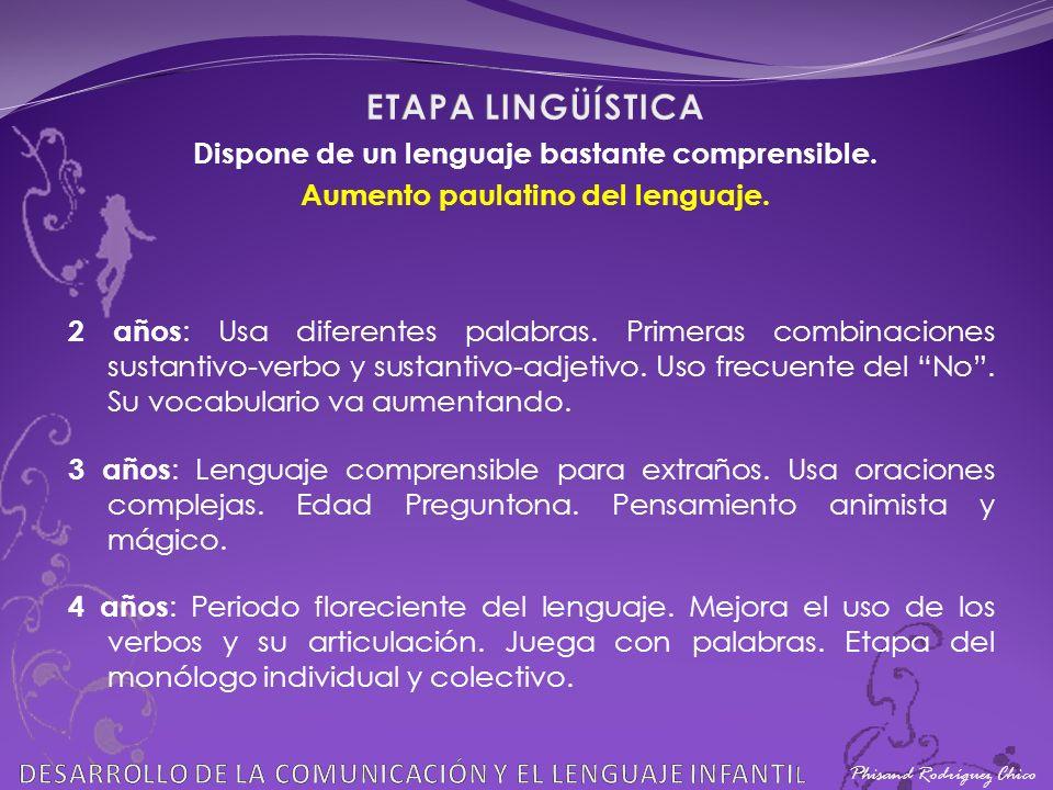 ETAPA LINGÜÍSTICA Dispone de un lenguaje bastante comprensible.
