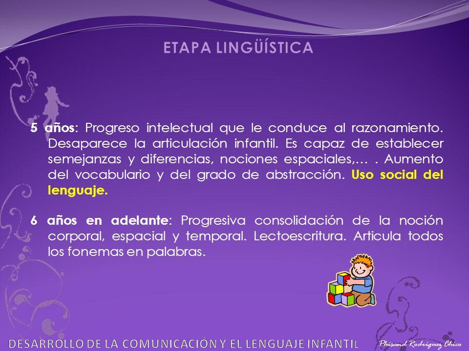 ETAPA LINGÜÍSTICA Phisand Rodríguez Chico. DESARROLLO DE LA COMUNICACIÓN Y EL LENGUAJE INFANTIL.