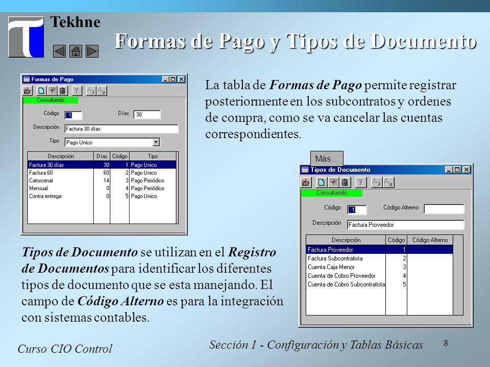 Formas de Pago y Tipos de Documento