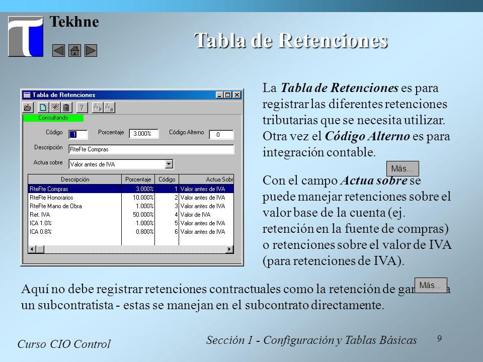Tabla de Retenciones Tekhne
