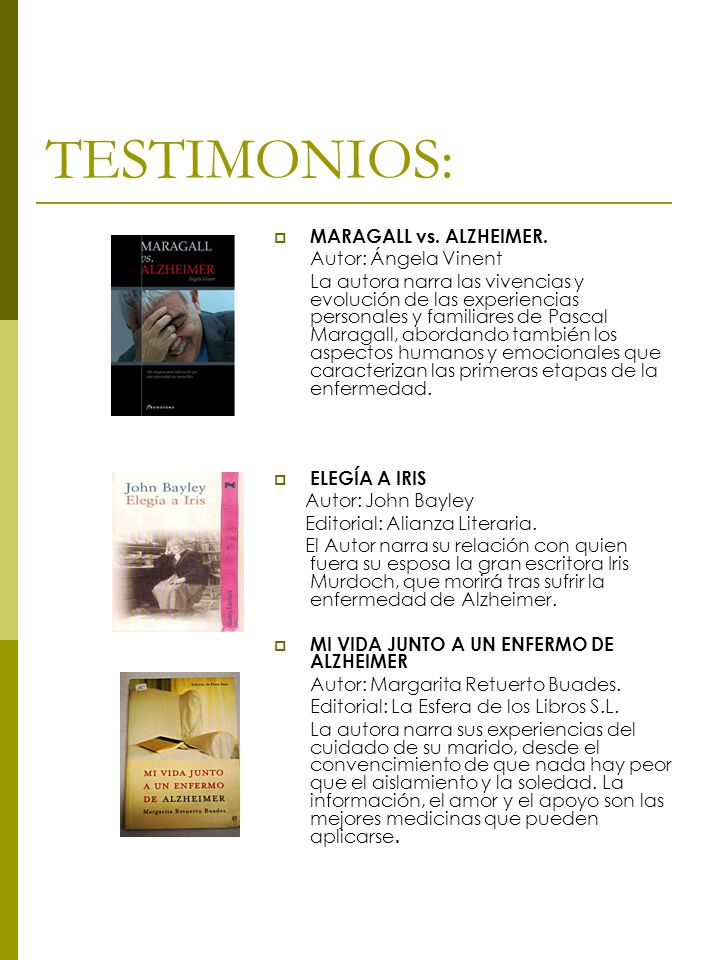 TESTIMONIOS: MARAGALL vs. ALZHEIMER. Autor: Ángela Vinent