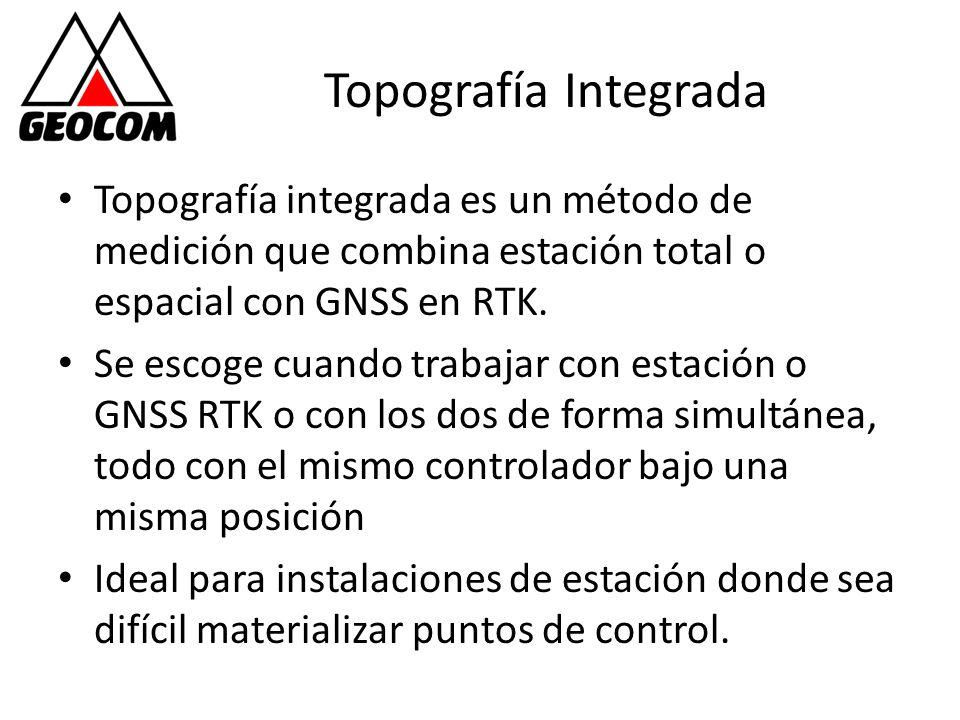Topografía Integrada Topografía integrada es un método de medición que combina estación total o espacial con GNSS en RTK.