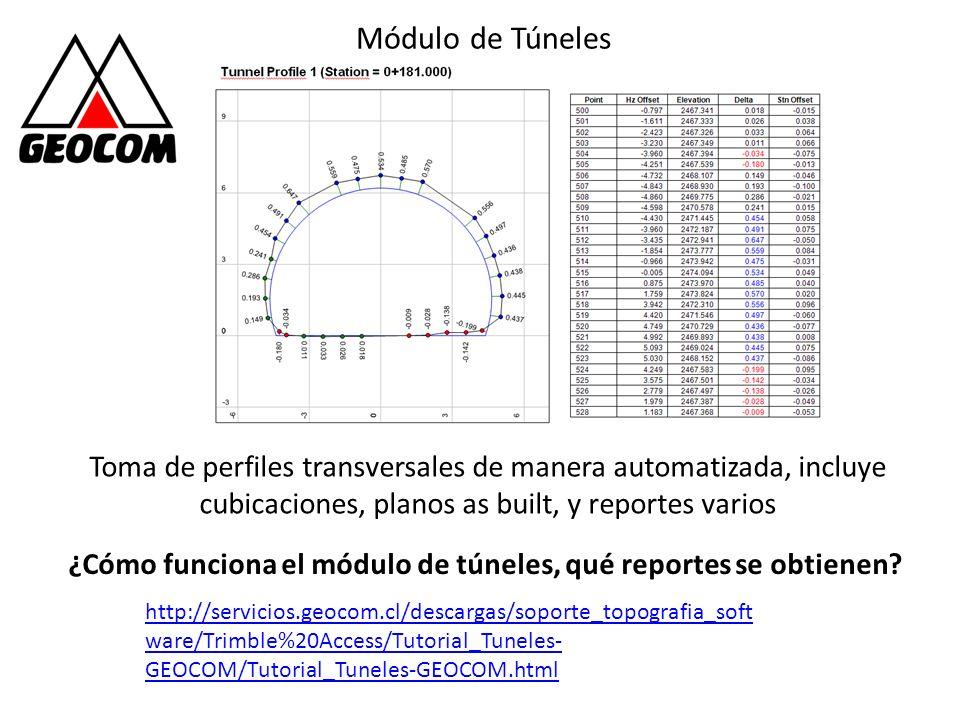 Módulo de Túneles Toma de perfiles transversales de manera automatizada, incluye cubicaciones, planos as built, y reportes varios.
