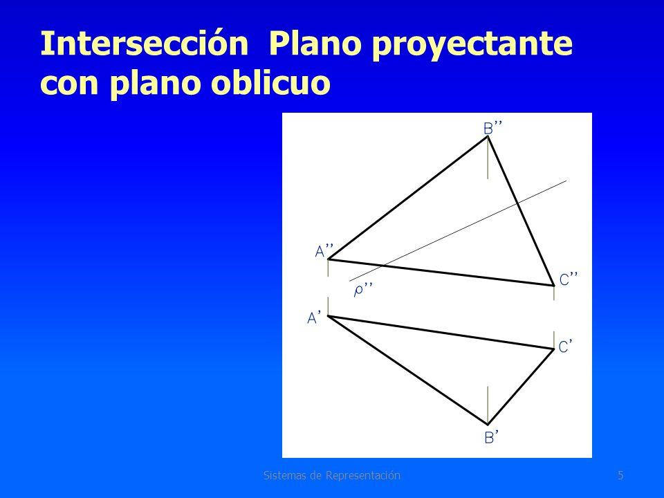 Intersección Plano proyectante con plano oblicuo