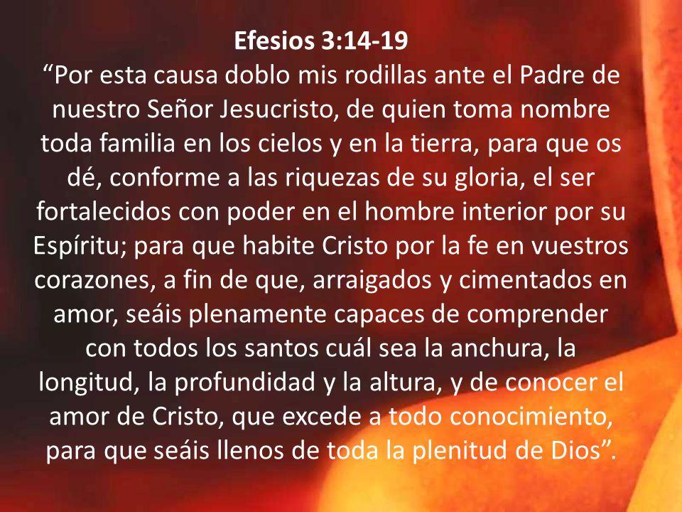 Efesios 3:14-19 Por esta causa doblo mis rodillas ante el Padre de nuestro Señor Jesucristo, de quien toma nombre toda familia en los cielos y en la tierra, para que os dé, conforme a las riquezas de su gloria, el ser fortalecidos con poder en el hombre interior por su Espíritu; para que habite Cristo por la fe en vuestros corazones, a fin de que, arraigados y cimentados en amor, seáis plenamente capaces de comprender con todos los santos cuál sea la anchura, la longitud, la profundidad y la altura, y de conocer el amor de Cristo, que excede a todo conocimiento, para que seáis llenos de toda la plenitud de Dios .