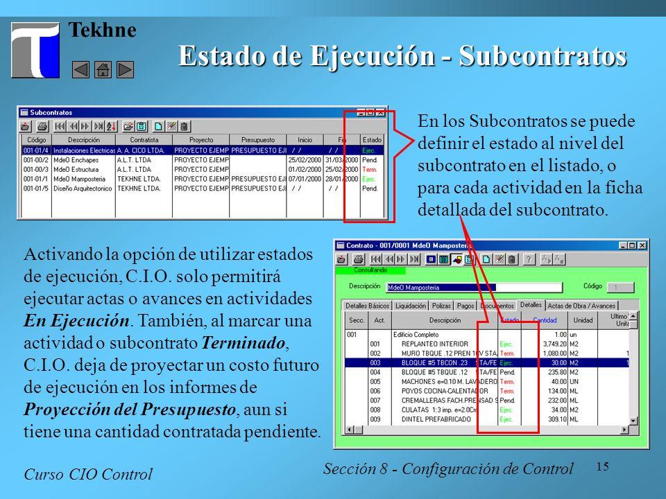 Estado de Ejecución - Subcontratos