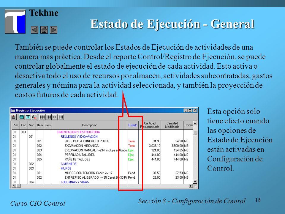 Estado de Ejecución - General