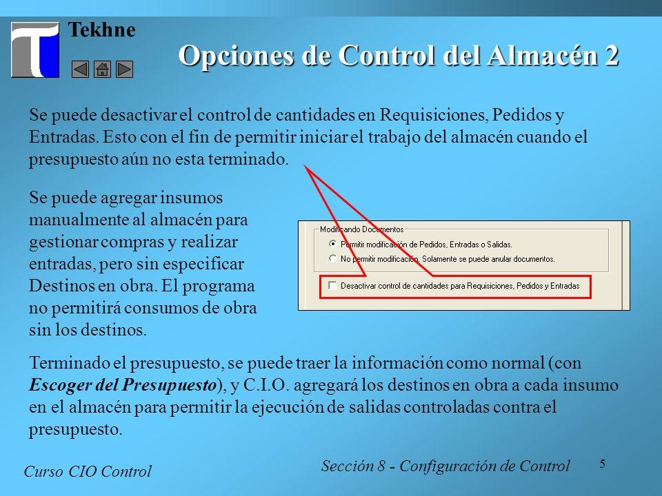 Opciones de Control del Almacén 2