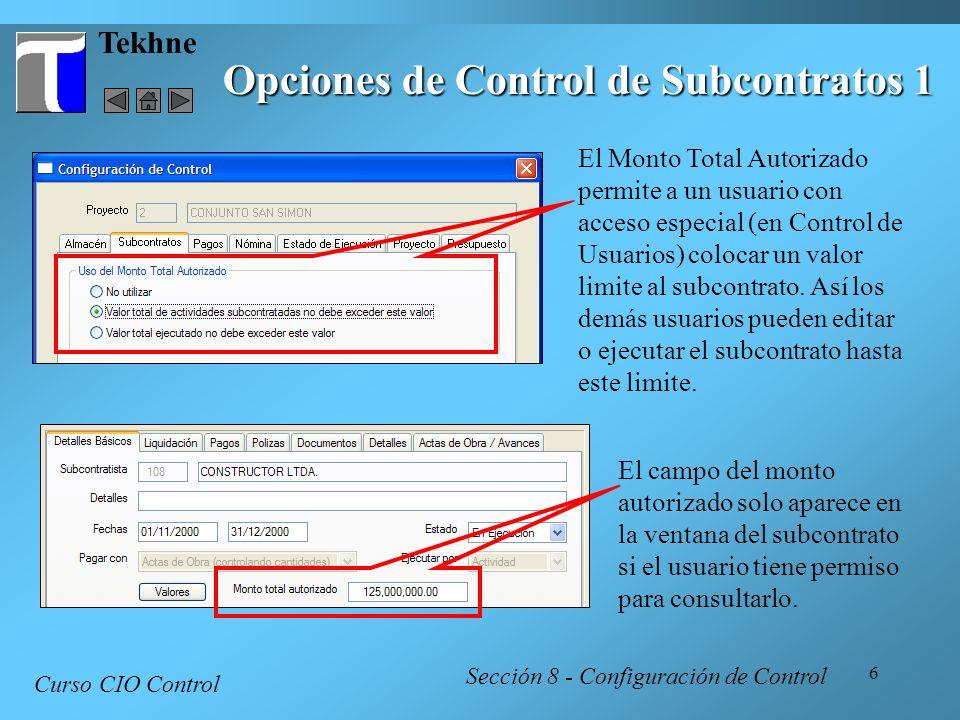 Opciones de Control de Subcontratos 1