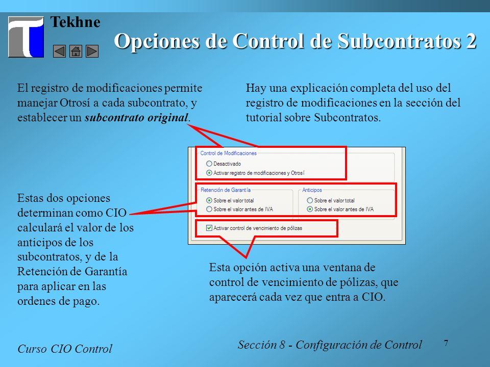 Opciones de Control de Subcontratos 2