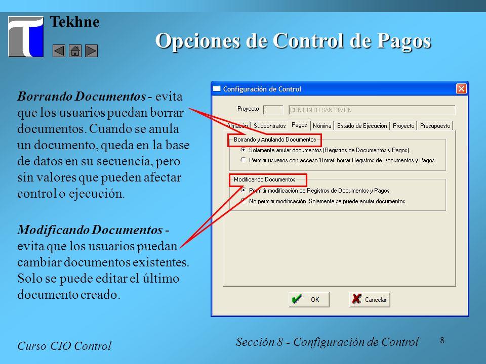 Opciones de Control de Pagos