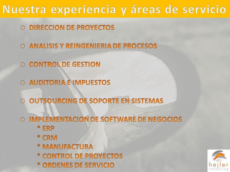 Nuestra experiencia y áreas de servicio