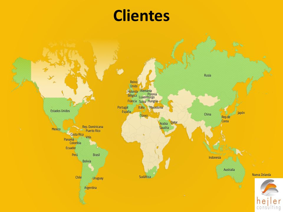 Clientes En este gráfico vemos que bizagi cuenta con clientes en la mayoría de países del mundo