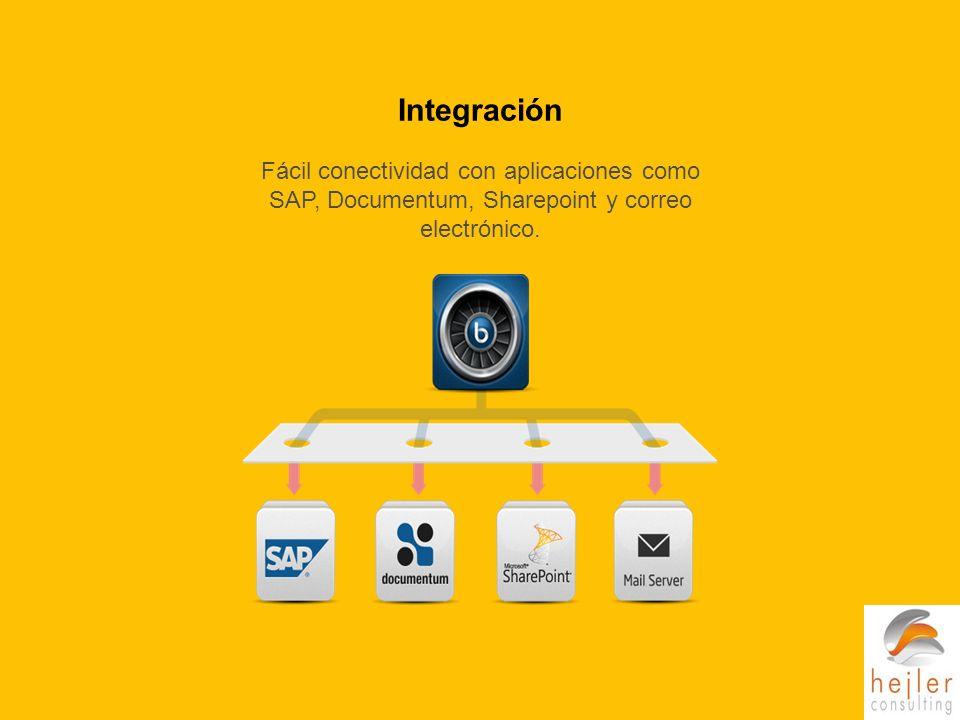 Integración Fácil conectividad con aplicaciones como SAP, Documentum, Sharepoint y correo electrónico.