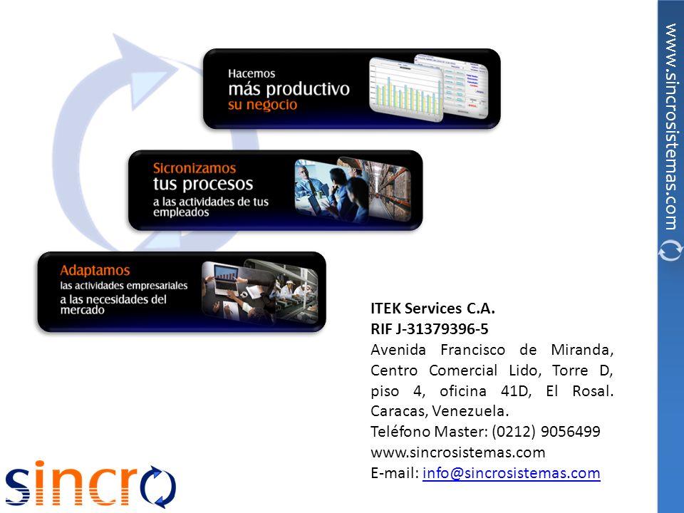 ITEK Services C.A.RIF J-31379396-5. Avenida Francisco de Miranda, Centro Comercial Lido, Torre D, piso 4, oficina 41D, El Rosal. Caracas, Venezuela.