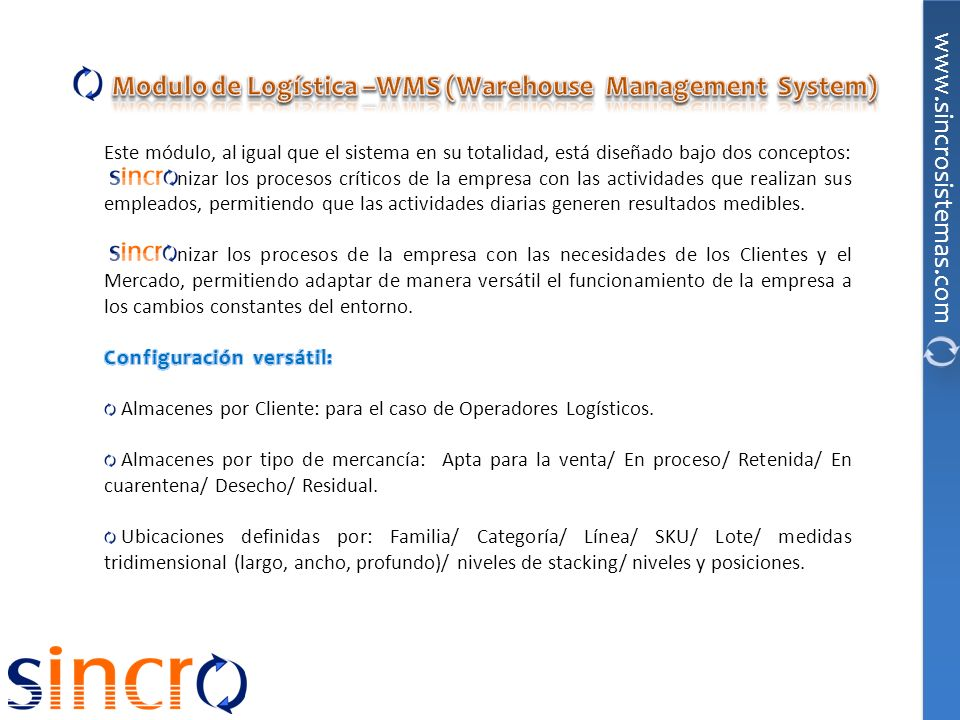 Modulo de Logística –WMS (Warehouse Management System)