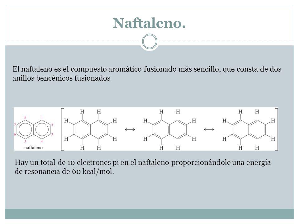 Naftaleno. El naftaleno es el compuesto aromático fusionado más sencillo, que consta de dos anillos bencénicos fusionados.