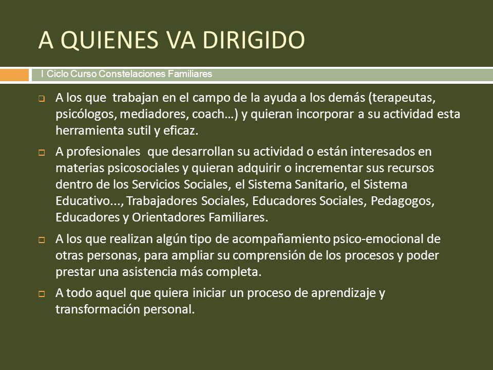 A QUIENES VA DIRIGIDO I Ciclo Curso Constelaciones Familiares.