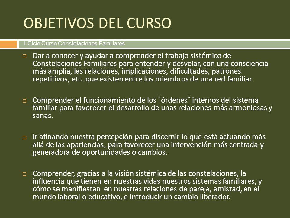 OBJETIVOS DEL CURSO I Ciclo Curso Constelaciones Familiares.