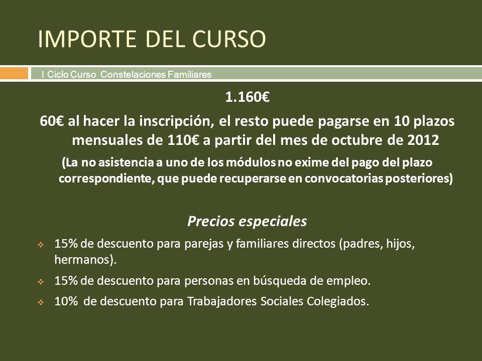 IMPORTE DEL CURSO I Ciclo Curso Constelaciones Familiares. 1.160€