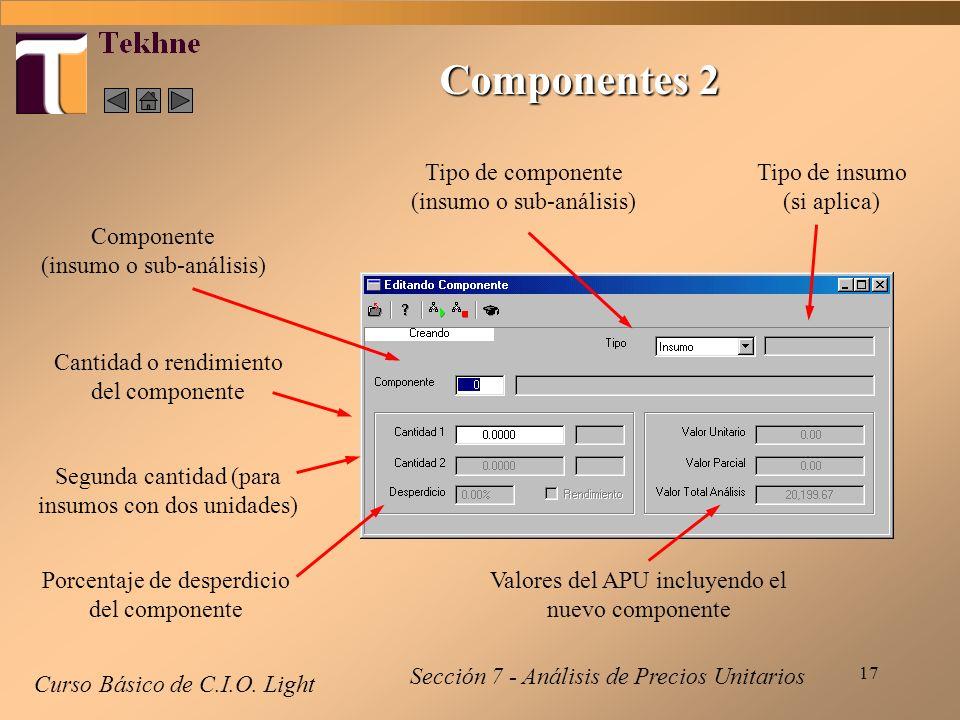Componentes 2 Tipo de componente (insumo o sub-análisis)