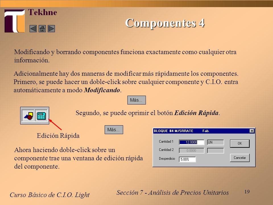 Componentes 4Modificando y borrando componentes funciona exactamente como cualquier otra información.