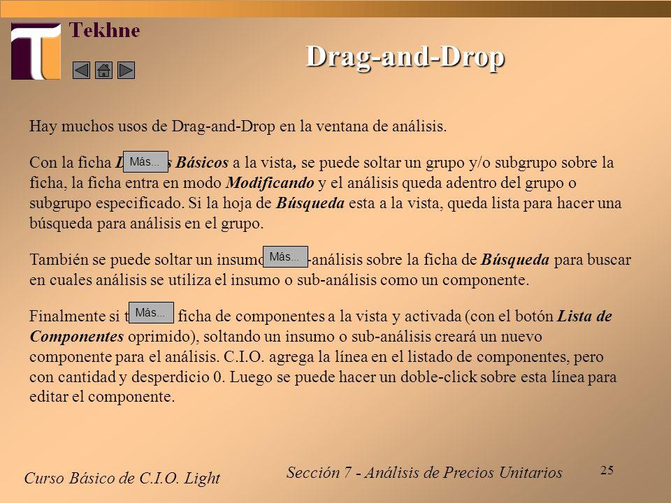 Drag-and-Drop Hay muchos usos de Drag-and-Drop en la ventana de análisis.