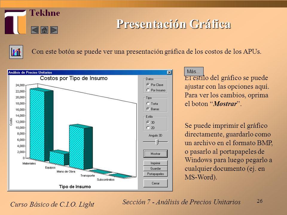 Presentación Gráfica Con este botón se puede ver una presentación gráfica de los costos de los APUs.