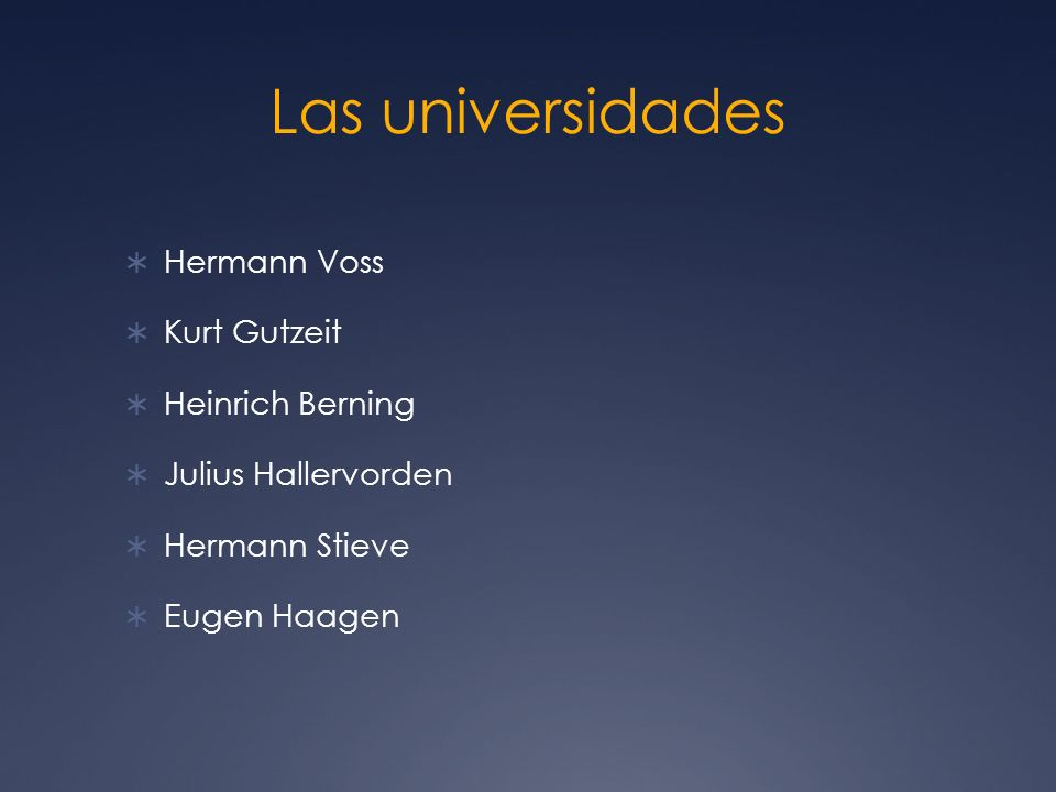 Las universidades Hermann Voss Kurt Gutzeit Heinrich Berning