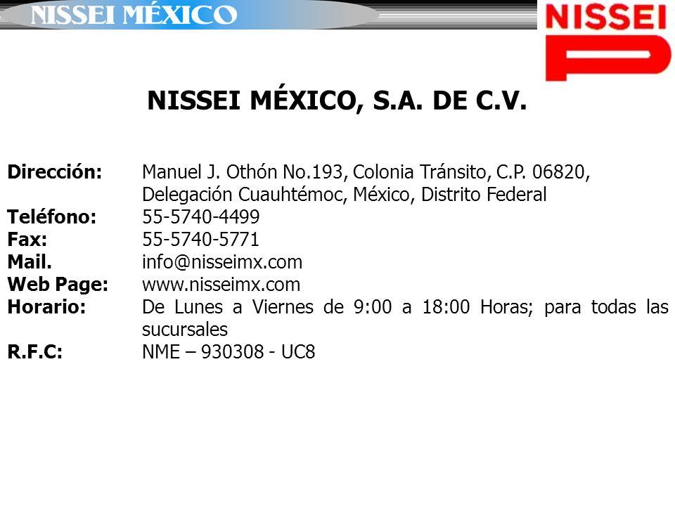 NISSEI MÉXICO, S.A. DE C.V. Dirección: Manuel J. Othón No.193, Colonia Tránsito, C.P. 06820, Delegación Cuauhtémoc, México, Distrito Federal.