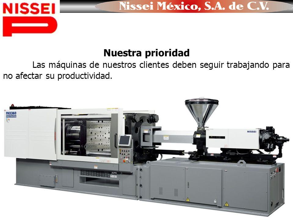 Nuestra prioridad Las máquinas de nuestros clientes deben seguir trabajando para no afectar su productividad.