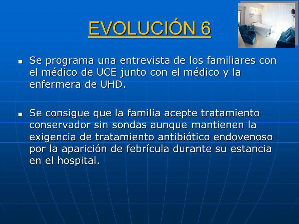 EVOLUCIÓN 6 Se programa una entrevista de los familiares con el médico de UCE junto con el médico y la enfermera de UHD.