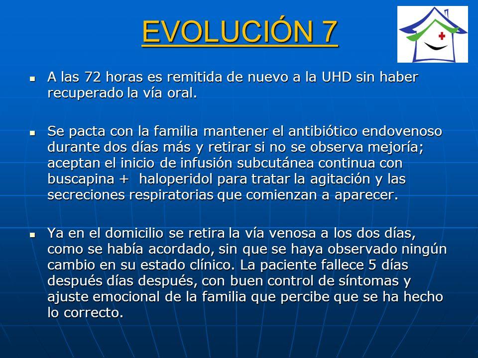 EVOLUCIÓN 7 A las 72 horas es remitida de nuevo a la UHD sin haber recuperado la vía oral.