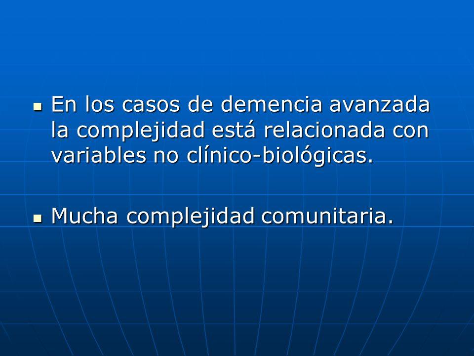 En los casos de demencia avanzada la complejidad está relacionada con variables no clínico-biológicas.