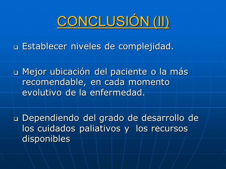 CONCLUSIÓN (II) Establecer niveles de complejidad.