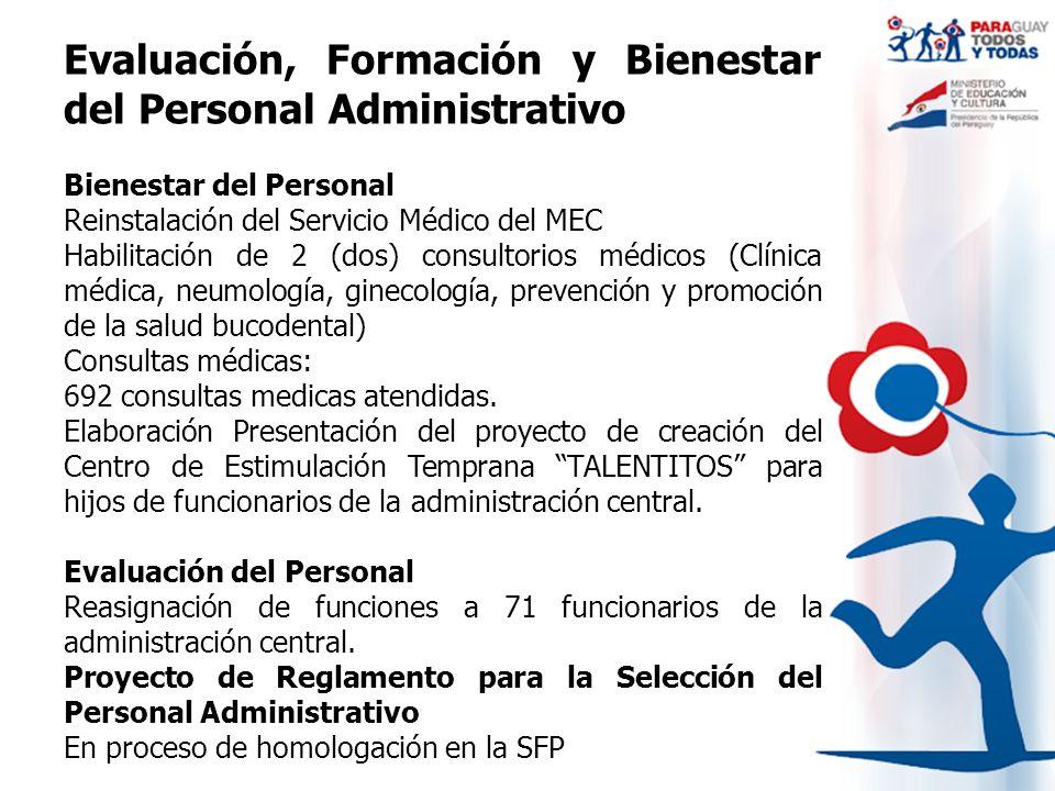 Evaluación, Formación y Bienestar del Personal Administrativo